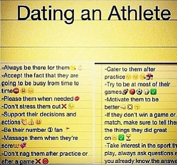 rules when dating an athlete Here are 10 tips for dating an athlete and having a good relationship  10 tips for dating a college athlete by emma hoyer 12 202 0  (depending on the rules of the team) some teams have dry seasons, where they can't drink alcohol at all, and in light of that, you may need to figure out some other way to have fun and enjoy their.