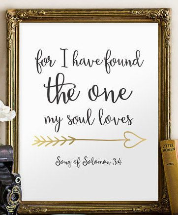 Bible Quotes For Wedding Best Quotes About Soulmates  Wedding Bible Verse Art Print Scripture