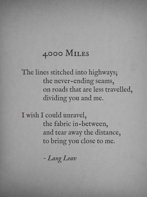 """Long Distance Quotes : """"4,000 Miles"""" // Lang Leav... - Quotess 