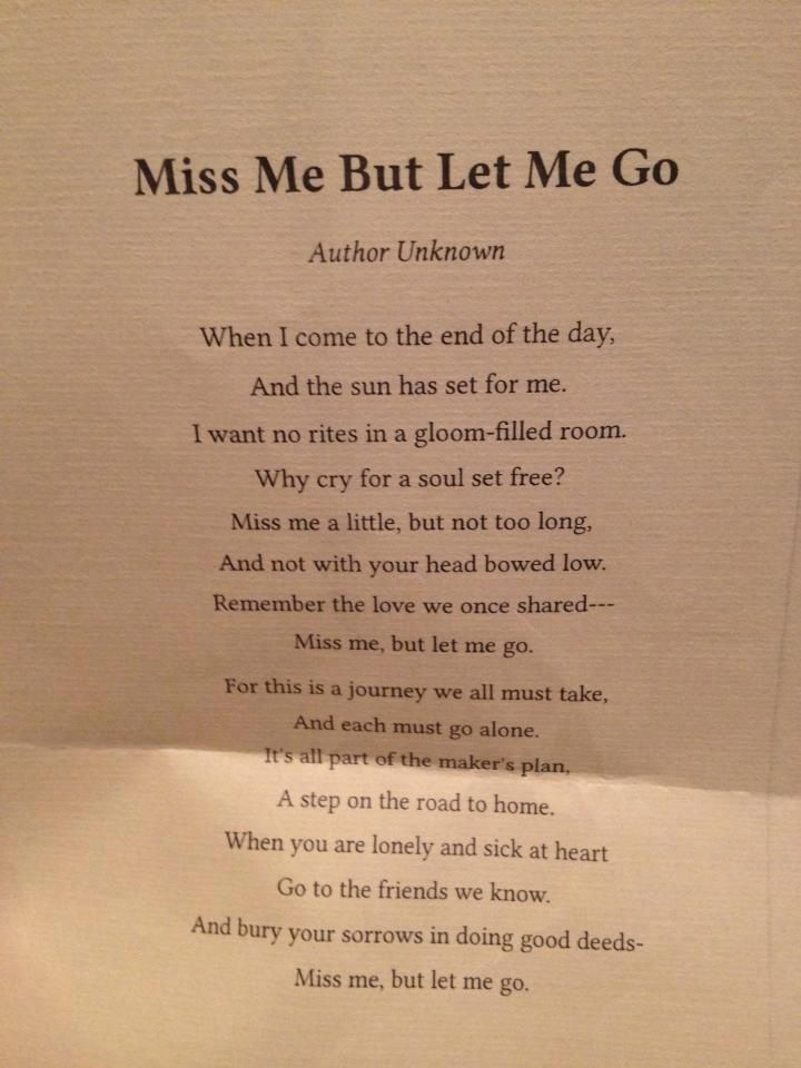 Quotes about Missing Miss Me But Let Me Go the poem gran had