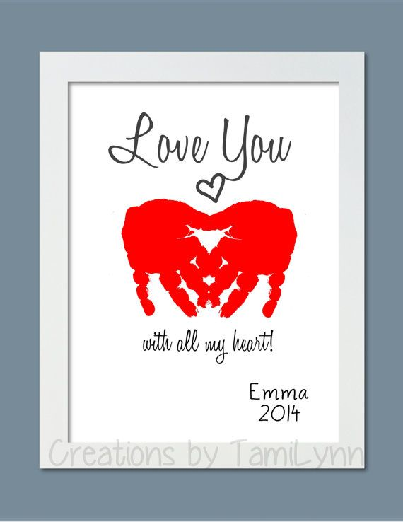Inspirational work quotes heart love you handprint art for Inspirational valentine crafts