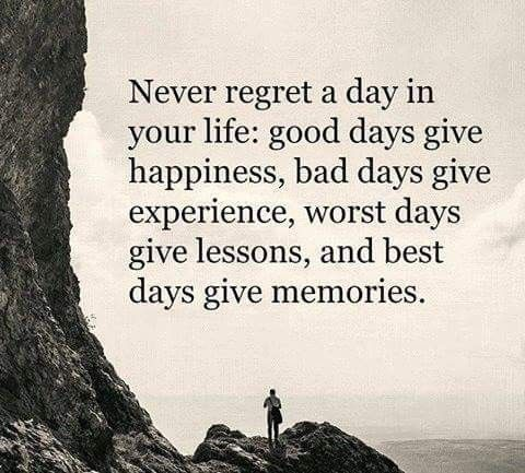 Quote For The Day Life Inspiration Life Quote  Never Regret A Day In Your Life Good Days Give