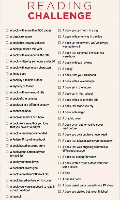 Top New Years Resolutions 2018 : Why not try a reading challenge for ...