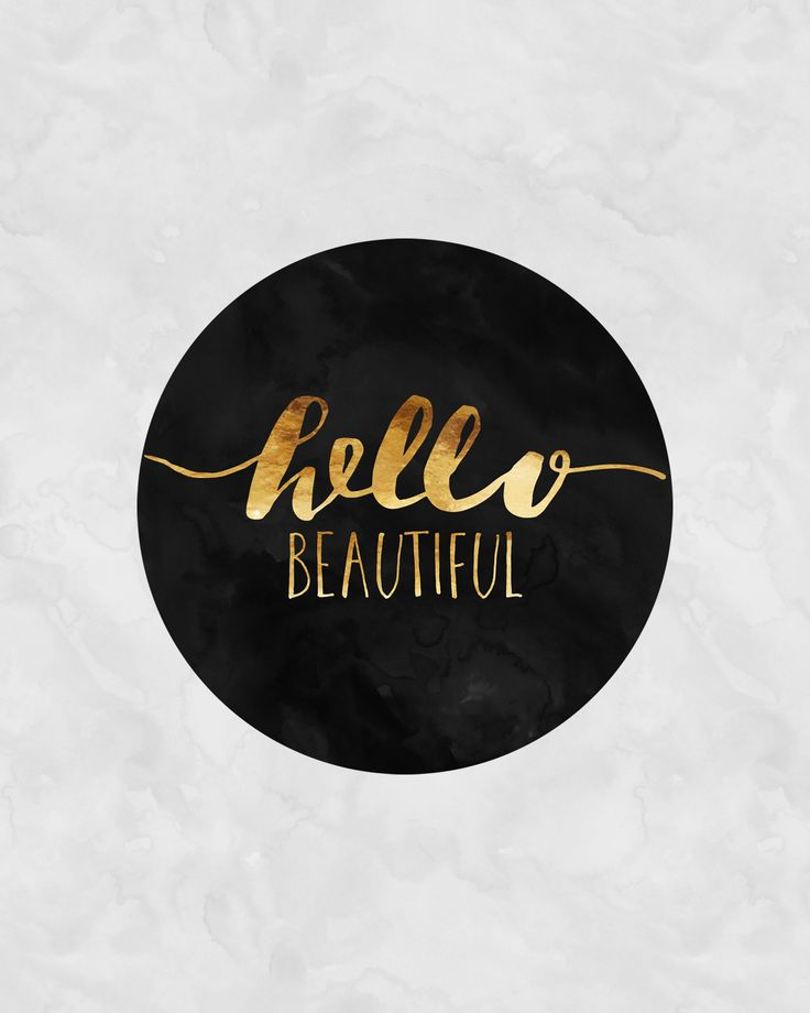 Quotes About Life Hello Beautiful Faux Gold Calligraphy Poster